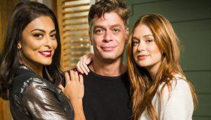 Eliza (Marina Ruy Barbosa), Arthur (Fábio Assunção) e Carolina (Juliana Paes)