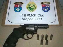 Arma apreendida com os assaltantes. Foto: Divulgaçã/PM