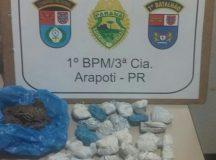 As 30 buchas foram apreendidas pela PM. Foto: Divulgação