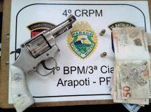 Arma usada pelo adolescente no assalto. Foto: Polícia Militar/Divulgação