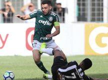 O jogador Bruno Henrique, da SE Palmeiras, disputa bola com o jogador Elias, do C Atlético Mineiro, durante partida valida pela trigésima terceira rodada, do Campeonato Brasileiro, Série A, no Estádio Independência.