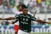 O jogador Borja, da SE Palmeiras, comemora seu gol contra a equipe do Red Bull Brasil, durante partida valida pela primeira rodada, do Campeonato Paulista, Série A1, no Estádio Moisés Lucarelli.