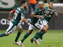 O jogador Deyverson, da SE Palmeiras, comemora seu gol contra a equipe do Junior Barranquilla, durante partida valida pela quarta rodada, fase de grupos, da Copa Libertadores, na Arena Allianz Parque.