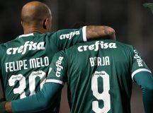 O jogador Borja, da SE Palmeiras, comemora seu gol contra a equipe do CD Godoy Cruz AT, durante partida de ida, válida pelas oitavas de final, da Copa Libertadores, no Estádio Malvinas Argentinas.