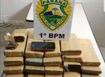 15 kg de maconha apreendidas pela PM embaladas em tabletes. Foto: Divulgação