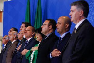 Presidente da República, Jair Bolsonaro durante execução do Hino Nacional Brasileiro.